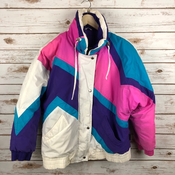Vintage quilted jacket pink fitted jacket zipper zip detailing sport luxe UK 8-10 1980s 1990s style salmon pink Stradivarius 11190200